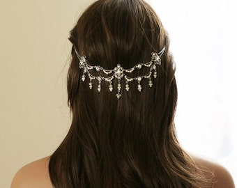 Crystal Bridal Headpiece  |  Vintage inspired Rhinestone Wedding Headpiece | Bridal Hair Piece | Hair Jewelry | Boho Hair Accessory