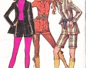 1970s Vintage Sewing Pattern High Waisted Shorts Jacket Simplicity 9574 Size 12 Bust 34