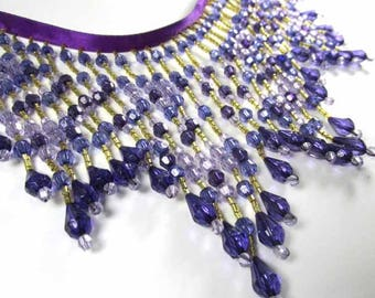 Shades of Purple, Lavender and Gold Long Beaded Fringe