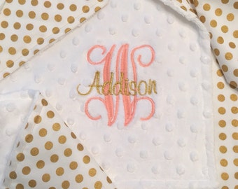 White and Gold Dot Baby Blanket w/Ruffle