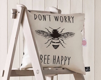Bee Happy Cushion (filled)