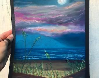 Moon Rising Pastel Painting