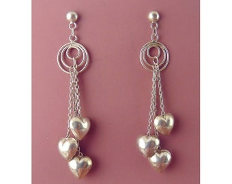 Sterling Silver Puffy Hearts on Dangling Chains Earrings, Hoop Tops, Pierced