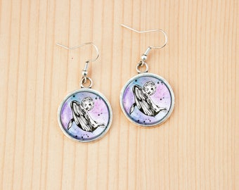 Space whale round earrings glass picture art present gift idea christmas birthday cosmic moon stars