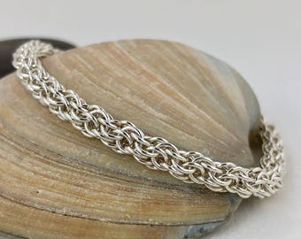Silver Bangle Bracelet for Women, Handwoven Chainmaille Jewelry, Argentium Sterling Silver, Flexible Welded Chain, small medium large xlarge