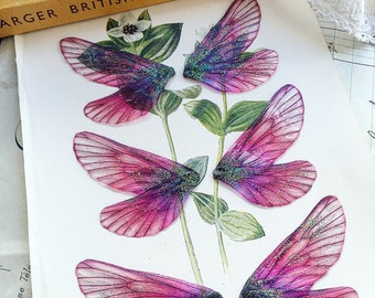 NEW Set of three small Pink rainbow faerie wings