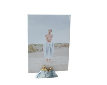 Set of 3 Photo and Cardholders Marble & Gold