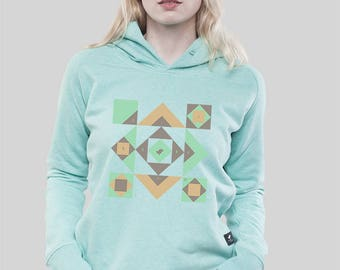 "Hoodie Women Mid Heather Green ""Squared"""
