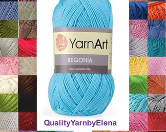 100% mercerized cotton yarn knitting crochet by Yarnart begonia 50g 169m (185 yards)