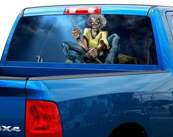 Eddie the 'Ead Edward Iron Maiden Rear Window Decal Sticker Pickup Truck SUV #2
