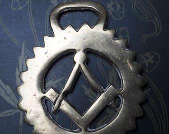 Vintage or Antique Masonic Compass Horse Brass - Folk Magic, British, Pagan, Wisdom - Rare