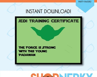 Jedi Training Certificate  |  Star Wars Inspired Party Favor