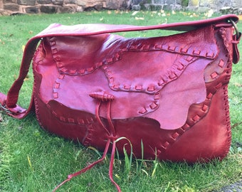 Red leather shoulder bag, handmade leather bag, womens bags