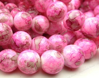 Bright Pink Mottled Round Glass Beads - 10mm Smooth Beads, Shiny Bohemian Beads - 20pcs - BL37