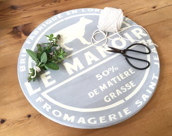 Farmhouse Lazy Susan Serving Tray with Cow and French Cheese Design Gray and Creamy White