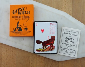 Vintage Gypsy Witch Fortune Telling Playing Cards,  Deck of Cards, Halloween Game Night