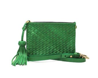 HUAVE Green  Leather Bag Clutch Bag Cross-body Bag Convertible Purse Hand Woven Leather Soft Structure Night Out Boho Bag Handmade Handbags