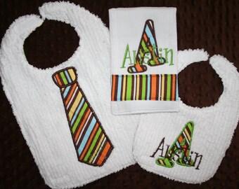 Custom Toddler Bib, Infant Bib and Burpie Set