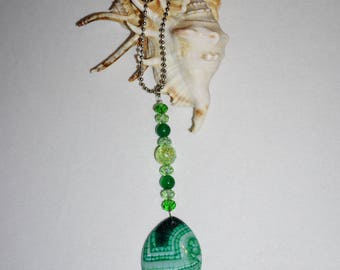 Green and White,  Agate Rear View Mirror Cham,  Green Car Mirror Charm,  Agate Car Mirror Suncatcher,  Free Shipping