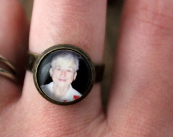 Custom Photo Ring - Antique Bronze or Silver Gunmetal - Personalized with Your Photos - Customized, Adjustable, Simple, Unique Clean Design