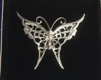 SALE! Vintage Art Deco Engraved Silver Butterfly Brooch