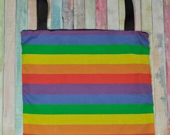 Nerditotes Handmade Handsewn Rainbow Pride Tote Bag