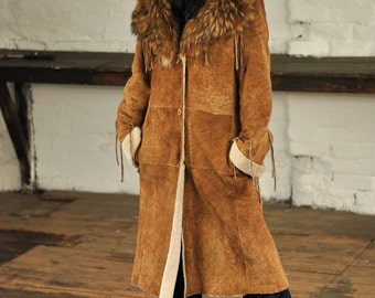 Vintage Afghan patchwork shearling  Penny Lane coat with Fox fur collar