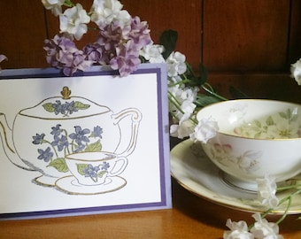 Hand colored friendship card - teapot