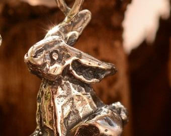 Bunny Rabbit Sterling Silver Pendant, Artisan Big Bunny Charm