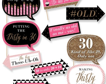 Funny Chic 30th Birthday - Pink, Black and Gold - Photo Booth Props - 30th Birthday Party Photo Booth Prop Kit - 10 Photo Props & Dowels