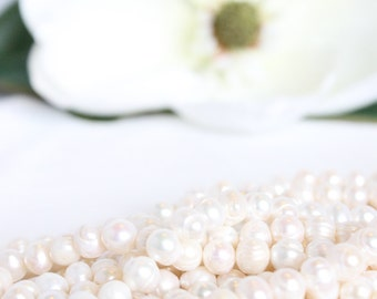 "9-10mm Freshwater Pearl - 13.5"" Strand Beads - White Pearls Cultured Pearls - Wedding Jewelry Supplies - Bridal Beads Potato Pearls / PB-006"