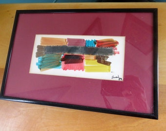 Emyr Wyn Williams original mixed media art - beautiful collage in bright colors framed signed dated