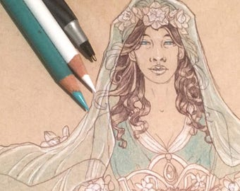 Original Drawing Inktober Ink and Color Pencil Sketch Art Pagan Easter Goddess Ostara with Veil and Flowers Lady of March Birthstone Art