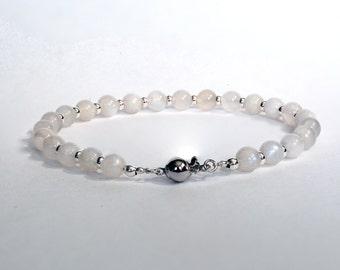 Sterling Silver & Moonstone Beaded Bracelet