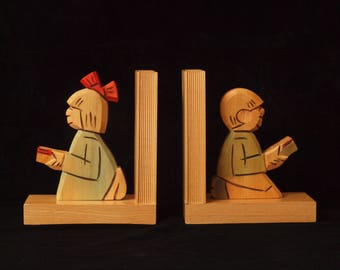German Vintage Wooden Bookend Couple Girl and Boy