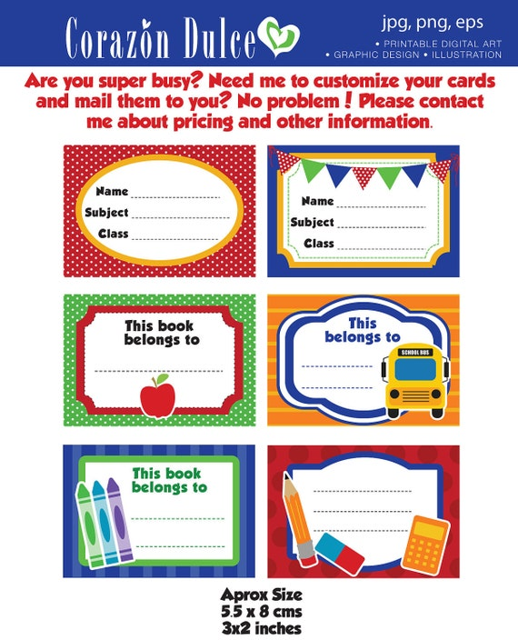 Back To School Labels Printable School Labels Tags Book