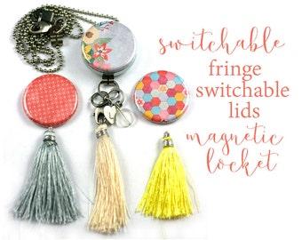 Long Tassel Necklace, Yellow Tassel Necklace, Locket with Switchable Tassels, Boho Jewelry, Boho Tassel Necklace, Bead, Inital, Polarity