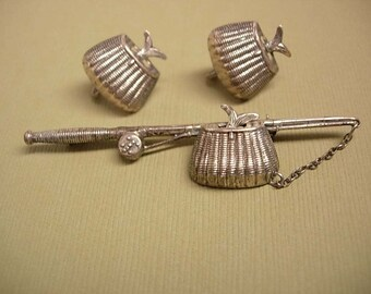 1940's sterling Arts crafts brooch Whimsey Fishing creel basket with FISH brooch and screw on earrings