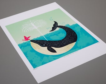 The Bird and The Whale - Animal / Wildlife / Nature - art poster print by Oliver Lake - iOTA iLLUSTRATION