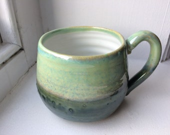 Handthrown Pottery Two-tone Green Ceramic Mug