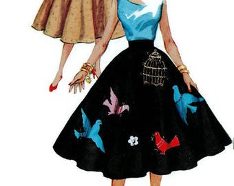 Sewing Pattern Simplicity 4884 Vintage Fashion Rockabilly Swing Dance Circle Skirt Women's Retro 1950s Waist 26
