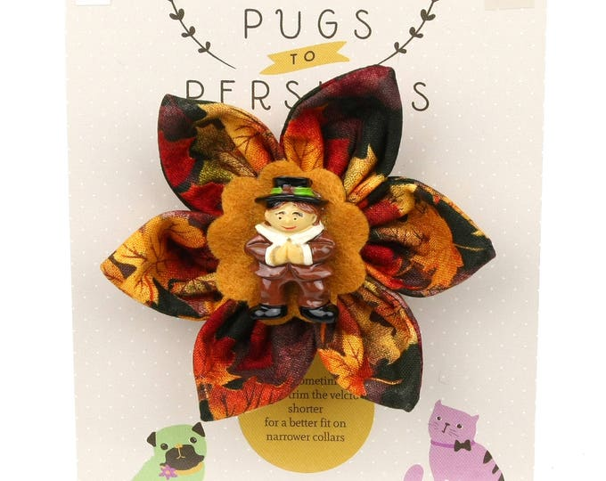 Autumn Dog Bow - Pilgrim Boy on Autumn Leaves - Flower - Collar Blossom - Medium Size