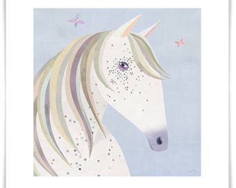 Dotted Horse, Giclee Art Print with a Neutral Palette, Girls Room or Nursery Decor, Framing Available