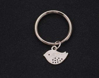 bird keychain, sterling silver filled, silver bird charm keyring, bridesmaid gift, mama keychain, mommy keyring, animal jewelry, love birds