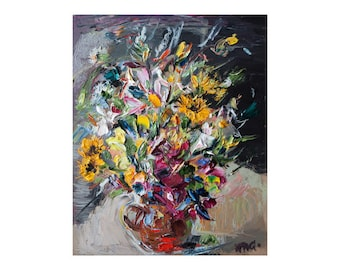 Giclee Fine Art Print, Bouquet, Floral Still Life Oil Painting Canvas Impressionist Impasto Thick Paint Texture Colorful Oils Flower Flowers