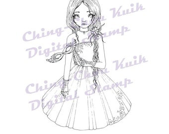 After Midnight - Instant Download Digital Stamp / Prom Ball Party Coloring Mask Fairy Girl by Ching-Chou Kuik
