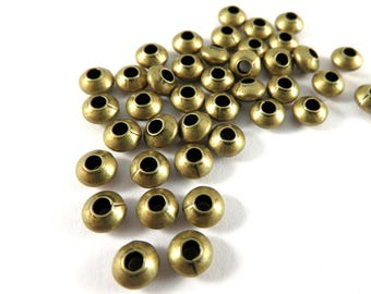 50 Antique Bronze Spacer Beads Smooth Saucer Plated Brass 5x3mm 1mm hole - 50 pc - 5935-8