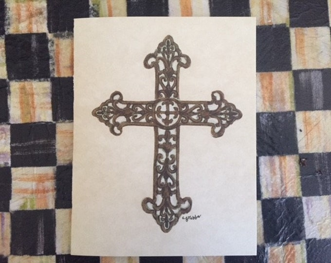 """Cross Note Cards (BLANK) -6 pack w/ envelopes """"For His Glory"""" Cindy Grubb Artwork- Any Occasion, FREE BOOKMARK, Thank you card, Rustic Cross"""
