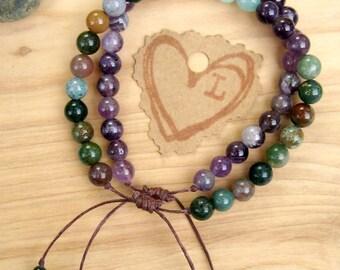 Amethyst Prayer Bead Bracelet, Yoga Stack Bracelets, Gemstones for Deeper Yoga Meditation Practice