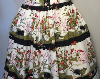 Vintage 50s Novelty Print Skirt M